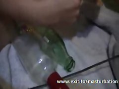 Kinky Masturbation Sandra with bottle and weights