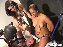 Lesbian master and slave hot bondage pussy fingering
