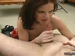 Fiery redhead whore eating hot cum after pov mouth pounding