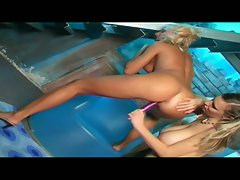 Slutty hot lesbian babes try to pump this dildo