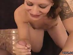 Deept throat cock sucking for this hot tattooed babe
