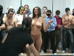 Naughty amateur busty brunette girl at czech gang bang party