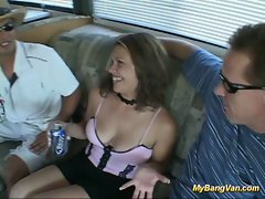Nasty babe gets drilled intensely in van