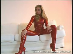 Blonde honey teases in red spandex