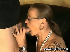 Amateur handjob footjob and blowjob with facial cumshot
