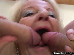 Two party boys nail blonde grandma