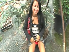 Cute brunette czech chick serves cock outdoors for some money
