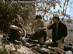 Vintage anal and mouth fucking threesome session with hot gay lovers