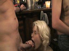 Public bar fucking as horny blonde babe enjoys hot gang banging