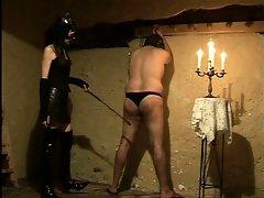 Nasty mistress torturing her big tits fatty slave for pleasure