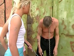 Blonde babes torture a nasty jerk