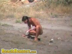 Nude Beach Spy Cam Hot Brunette & Friends