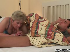 Cock hungry granny fucks her son in law huge sleeping cock