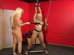 Bdsm blonde tortured by a hot slut !
