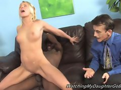 Brittany angel fucked by black cock while her dad watches