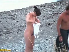 Voyeur video of hot naked bodies exploring subtle beach