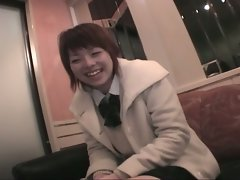 Cute highschool horny japanese slut plays pussy before fucking