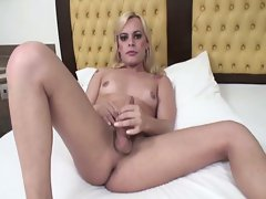 Hot blonde shemale fucks horny dude