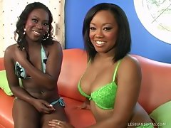 Two black lesbian sisters pleasing each other sweet pussy