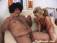 Lovely blonde slut sophie dee serving small dick fat dude
