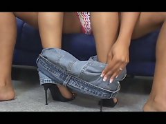 The ebony lesbians lick and toying to each other