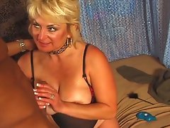 Mature blonde bitch gets big black cock action