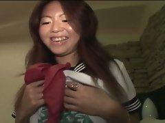 Busty japanese schoolgirl masturbates then fucks