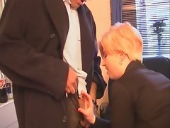 Blonde slut sucks her boss' cock