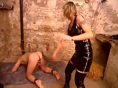 Nasty female mistresses overpowering horny bald daddy