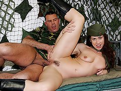 A female officer wants to make promotion and she will do anything to...