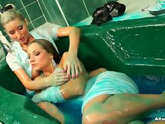 These babes have plenty of slimy blue soap to work with, really...
