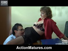 Mature lady-boss having a hardcore session with her young and hung...