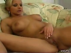 This blonde chick gets extra hot as she teases you with her wicked...