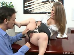 Midget boss Mini Mya is interviewing for a new sexatary, and she...