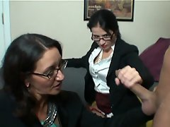 Milf Persia and Tatiana milk young Joey when he masturbates in front...
