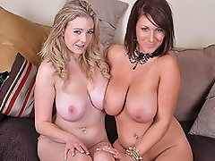 Lexy & Sapphire get out their huge bazzookas and start sucking on...