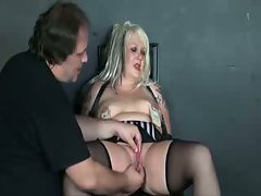 Magick punishes slave slut with burning candles and clamps....