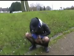 Chaos tries to pee by a main road junction, but the icy December...