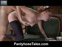 Tasty French maid going for kinky pantyhose screwing during her smoke...