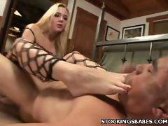 Annette Schwarz is a cock greedy blonde who knows her way around men....
