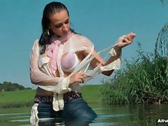 Gina can totally satisfy her wet fetish all by her lonesome, taking a...