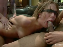 Amy Brooke gets stuffed air-tight and double penetrated in her ass...