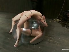 Cherry is zip-tied over the dome while Ariel X is electrified inside....