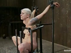 Beautiful girl next door blond, trapped and bound on the most...