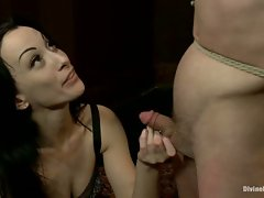 Slaveboy is CBT'ed, single tailed, made to cum from strap-on anal...