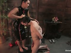 Exotic dominatrix makes slave into foot worshipping whore then covers...