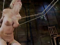 Hot blonde with big tits & braces, has elbows bound, is gagged....