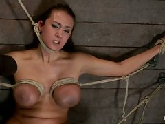 Hot big titted Florida girl, gets her huge tits bound, her face...