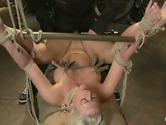 Big-titted blond Holly Heart rope-bound and fucked in mouth and ass....