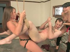 Harmony Rose and Penny Flame dominate slave boy...